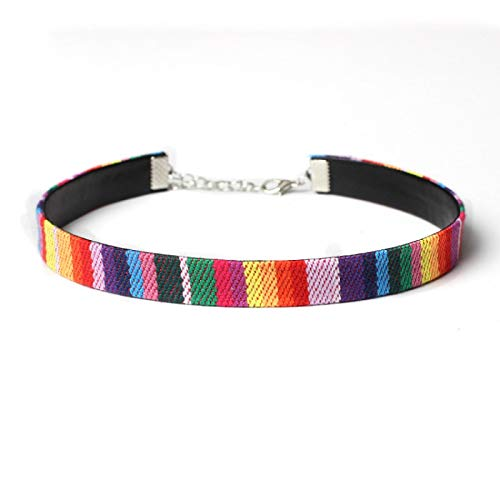 ZYLL Vintage handkolorierte bestickte Kragen Kragen Halskette Nische Temperament National Style Short Neck Chain Halskette