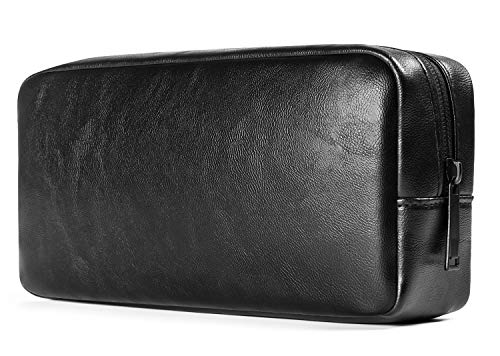 Electronics Accessories Case, Big PU Leather Electronics Accessories Storage Bag Compatible Laptop Charger Various USB, Cables, Cords and Power Travel Gadget Carry Bag - (Big-Black)