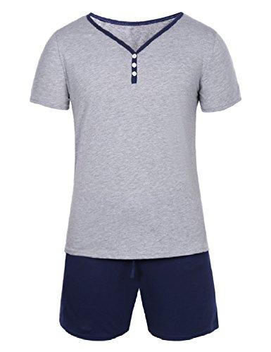Hawiton Herren Schlafanzug Kurz Pyjama Baumwolle Sommer Nachtwäsche Shorty Schlafoberteil mit Knöpfleiste Blau L