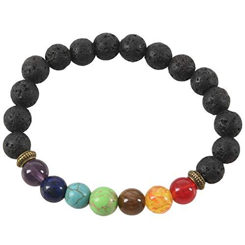 HEYB Pulsera de curacion de 7 Chakras Pulsera de Amuleto para Hombres y Mujeres Piedras de oracion de Buda Reiki Abalorios de Lava Negra