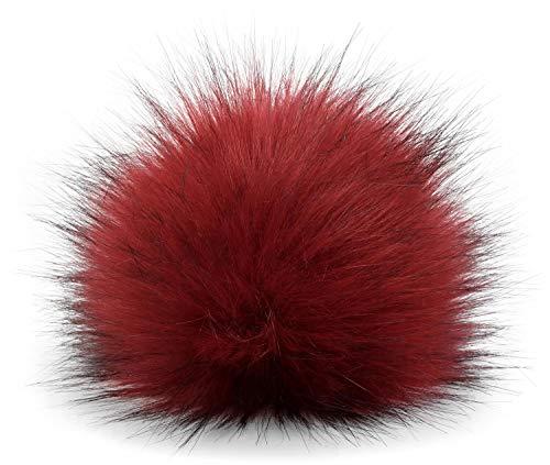 styleBREAKER pompón de Pelo Artificial para Gorros y Beanies, Piel sintética, pompón de Pelo de Invierno 04024161, Color:Burdeos-Rojo