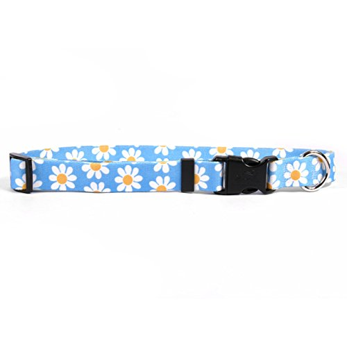 "Yellow Dog Design Blue Daisy Dog Collar 1"" Wide And Fits Neck 18"