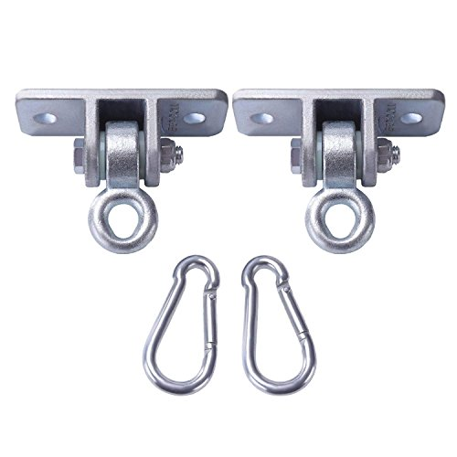 BETOOLL 2400 lb Capacity Heavy Duty Swing Hangers for Wooden Sets Playground Porch Indoor Outdoor & Hanging Snap Hooks Silver Set of 2