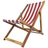 Woodside Traditional Folding Beach/Garden Wooden Deck Chair Seaside Lounger Red & White