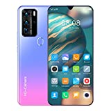 P80pro Teléfono Inteligente Desbloqueo Facial de Huellas Dactilares Teléfono Móvil de 7.1 Pulgadas 12GB + 512GB Tarjeta Dual Teléfono Móvil Barato de Doble Modo de Espera (Color : Pink)