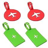 gotyou 4 Piezas Etiqueta de Equipaje de Avión,Tarjeta de Identificación de Equipaje de Viaje,Etiqueta de Identificación de Maleta,Accesorios de Viaje Identifican Equipaje(Rojo,Verde)