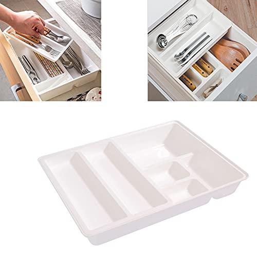 GUOGEGE Portacubiertos Cajon, Estuche Plastico Inserto de Cubiertos Extraíble Organizador de Cocina, Inserto Cajón 12.3 * 9.5 * 2.6 in, como cubertero u Organizador de la Cocina (Doble Capa)