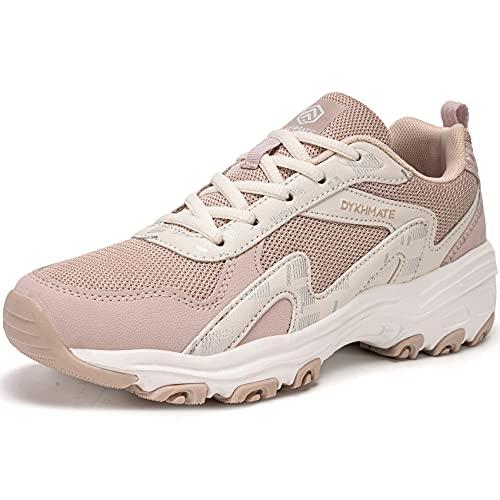 DYKHMATE Mujer Zapatillas de Deportivos Vintage Zapatos de Running para Gimnasia Ligero Sneakers Malla Transpirable con Cordones para Correr Fitness Atlético Caminar (Rosa,40 EU)