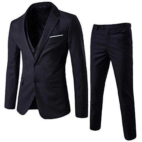 Anzug Herren Slim Fit 3 Teilig Anzüge Herrenanzug Sakko für Hochzeit Business Schwarz Large