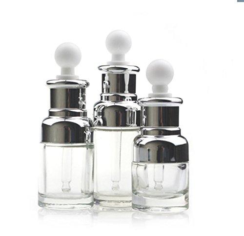 30ML nachfüllbar gehobenen klar Glas Flasche ätherisches Öl Elite Fluid Cosmetics Jar Pot Container Flakon mit Glas Pipette Eye Dropper