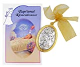 Oval Guardian Angel Crib Medal with Baptismal Remembrance Certificate Card Gift Set