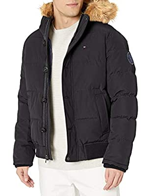 Tommy Hilfiger Men's Arctic Cloth Quilted Snorkel Bomber with Removable Faux Fur Trimmed Hood, Black, L