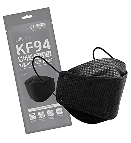 25 Pack , HAPPYDAY FFP2 4-Layer Micro Dust Protection KF94 Face Mask for Adult , Made in Korea , Individually Packaged , Black Large