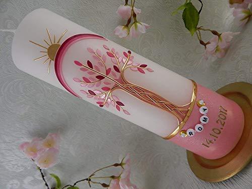 Taufkerze Lebensbaum Regenbogen gold rosa pink Taufkerzen Junge Mädchen 250/70 mm inkl. Beschriftung