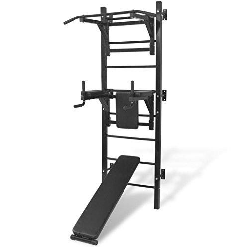 vidaXL Fitness Kraftturm Multifunktional Wandmontage mit Dip-Station Klimmzugstange Sit-Up-Bank Kraftstation Heimtrainer Power Tower Schwarz