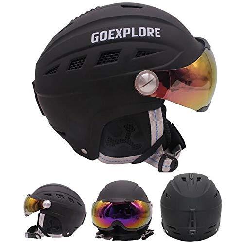 ヘルメットヘッドガードACHICOOスキーヘルメットバイザー付きスノーボード·スケートヘルメットスポーツアウトドアメンズ/レディースブラックM