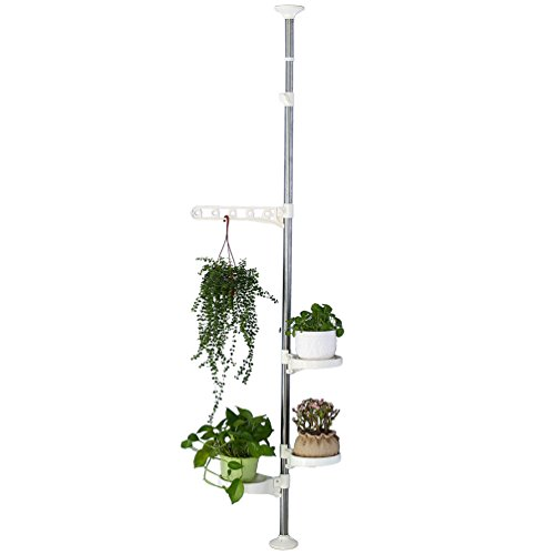 BAOYOUNI Indoor Plant Tension Pole Flower Display Stands Spring Loaded Flowers Hanging Rack Rod for Windowsill Counter Top, with 4 Adjustable Trays & Arm, Ivory