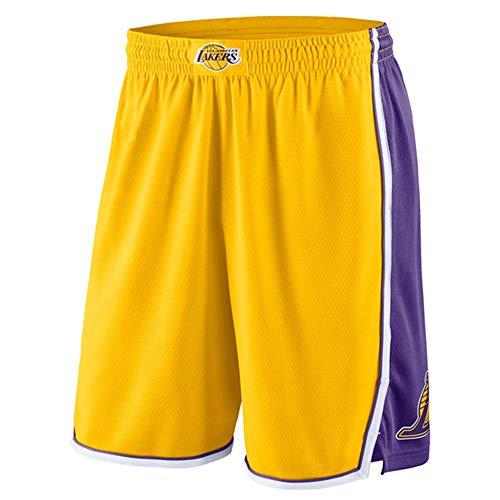 GFENG Pantaloncini Basket Unisex Los Angeles Lakers Urbani Versione Ricamo Concorrenza Basket Pantaloncini di Formazione