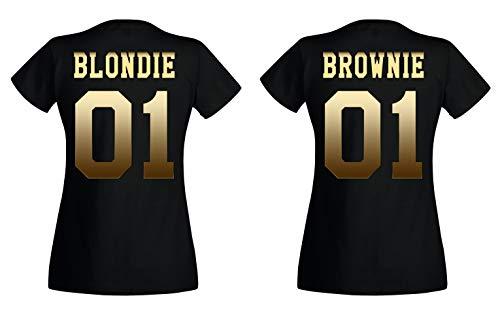 TRVPPY BFF Damen T-Shirt/Modell Brownie, Gold Schwarz/Gr. S