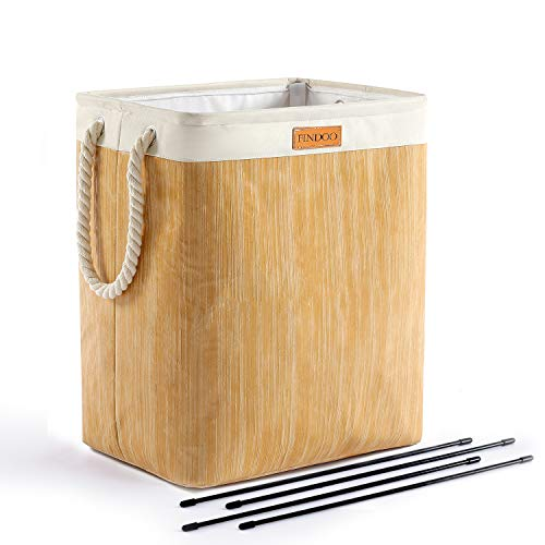 FINDOO Tall Laundry Basket with Brackets Foldable Large Linen Laundry Hamper with Handles Heavy Duty Clothes Basket Folding Laundry Bin for Bedrooms Clothes Toys Organizer Beige