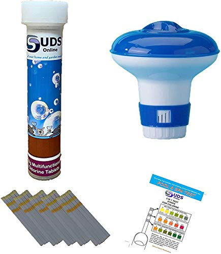 SUDS-ONLINE 10 x 20g Multifunctional Chlorine Tablets + 10 Test Strips +Floating Dispenser for Swimming Pools Spa Hot Tub Paddling Pools