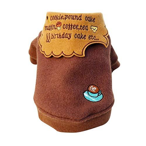 NA Mascota Perro Ropa de Gato Abrigo cálido de Invierno para Perros pequeños Cartas Marrones Bordado Abrigo de Lana para Cachorros de Perro