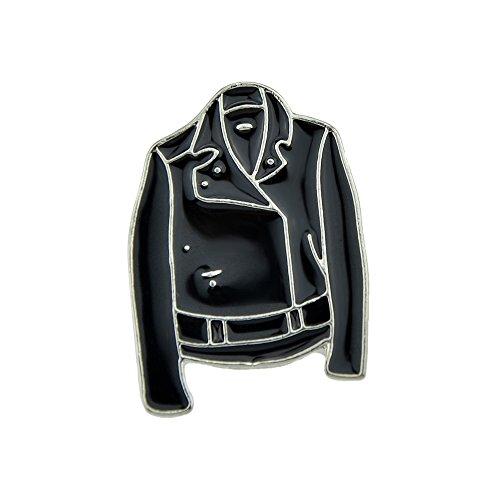 Feelontop® minimalistischen Stil Silberton Broschen schwarz Emaille Jacke Kleidung Muster mit Schmuck Beutel