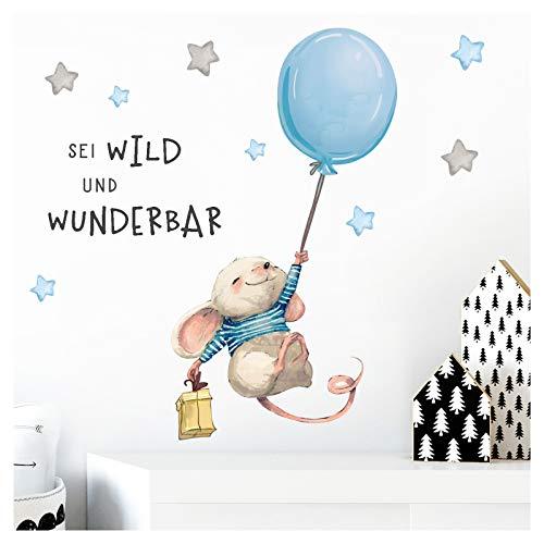 Little Deco Wandbilder Spruch sei wild & Maus I Wandbild 146 x 61 cm (BxH) I Luftballon Wandtattoo Aufkleber Kinderzimmer Junge Tiere Deko Babyzimmer Kinder DL315