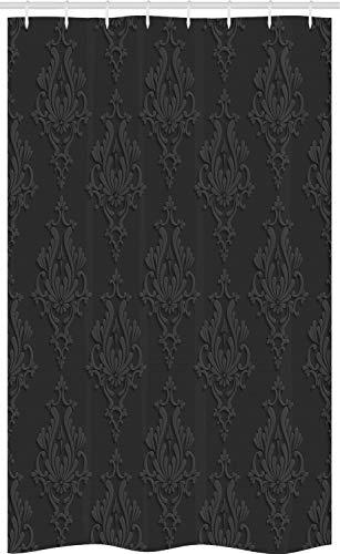 ABAKUHAUS Dunkelgrau Schmaler Duschvorhang, Antiker Damast 3D, Badezimmer Deko Set aus Stoff mit Haken, 120 x 180 cm, Anthrazit grau