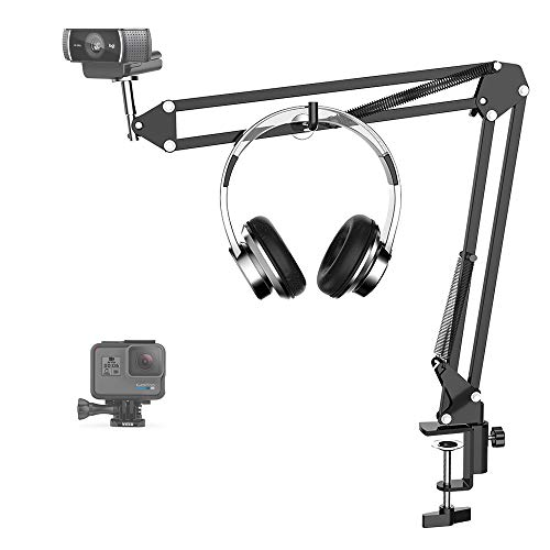 SIGSIT Webcam Stand-Suspension Boom Scissor Arm with Table mounting clamp for Logitech Webcam C922 C930e C930 C920 C615, Gopro Hero 7/6/5/4