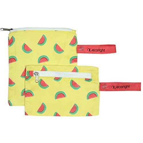 Bolsa reutilizable para sándwiches/bocadillo - Paquete de 2 bolsas de almuerzo lavables de doble capa - Fácil de limpiar - tejido de plástico reciclado   Sandía