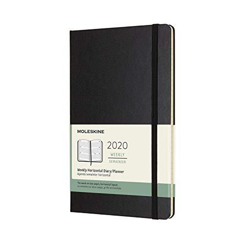 Moleskine 12 Mesi 2020 Agenda Settimanale Orizzontale, Copertina Rigida e Chiusura ad Elastico, Colore Nero, Dimensione Large 13 x 21 cm, 144 Pagine