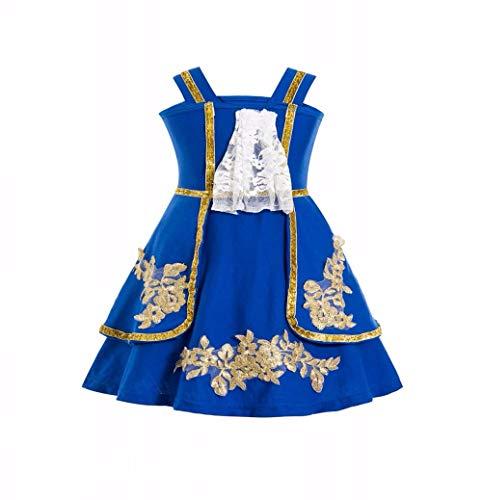 Waruila Blue Dress Tween Princess Beauty & The Beast Costume Beauty and The Beast Cosplay Costume (Blue, 8-10T)