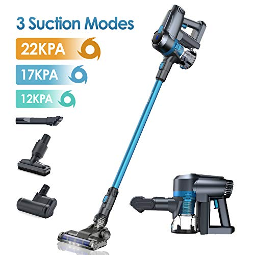 %35 OFF! Homtiky Cordless Vacuum Cleaner, 22Kpa Powerful Suction 3 Speeds 5 in 1 Cordless Stick Vacu...