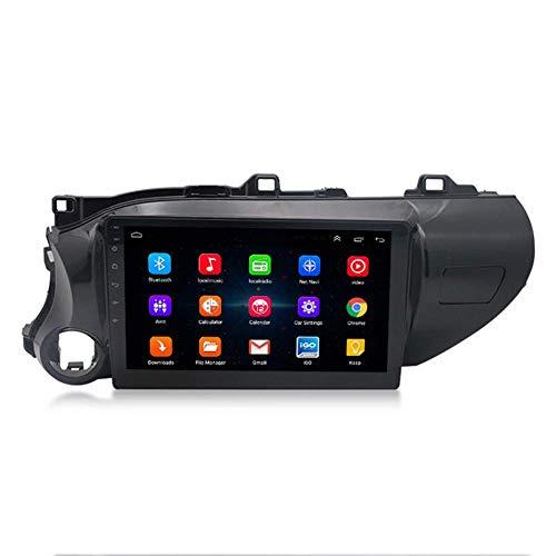 Android 9.1 Car Stereo Sat Nav para Toyota Hilux, 10 Pulgadas en el Tablero Unidad Principal Single DIN Auto Radio Navegación GPS Soporte Completo RCA BT MirrorLink WiFi Car Auto Play TPMS DVR OBD2