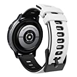 MoKo Cinturino Orologio Comaptibile con Garmin Forerunner 245/Galaxy Watch 3 41mm/Galaxy Watch 42mm/Active/Active 2, Cinturino con Fibbia Inox, Braccialetto Fitness, Bianco & Nero