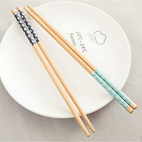 Vajilla de 2 pares japoneses de madera de bambú con impresión natural, sin laca, vajilla, vajilla Hashi Sushi chino (color al azar)