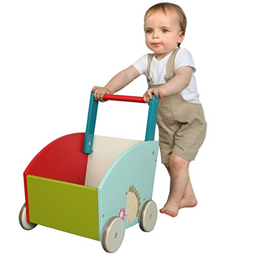 labebe - Baby Walker for Girl&Goy, 4 Wheels Walker Toy, Push/Pull Wagon Cart for Kid, Baby Learning Walker, Toddler Push Toy for 1-3 Years Old, Outdoor Activity Walker Infant, Wooden Child Wagon Green