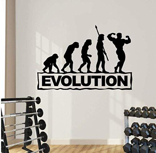 Adhesivos De Pared Evolution Gym Sports Tatuajes De Pared Culturismo Fitness Adhesivos Arte Mural Decoración Del Hogar Papel De Pared Diy Mural 42X63Cm