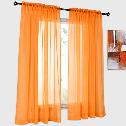DONREN 2 Panels Solid Color Orange Sheer Curtains Elegant Rod Pocket Window Voile Panels Drapes for Bedroom Living Room (52X63 Inches)