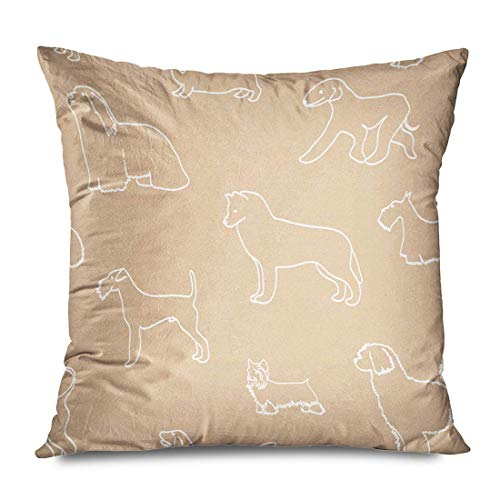 Throw Pillow Cover Square 18x18 Brown Freehand Cute Animals Pattern Abstract Dog Figure Character Childish Draw Life Collection Decorative Zippered Cushion Case Home Decor Pillowcase 16\ X 16\(IN)