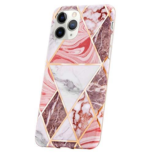 QULT Bumper Compatible pour Coque iPhone 11 Pro marbre Siliconee Etui Flexible Case TPU Cover pour iPhone 11 Pro Glitzer Triangle Pink Marble