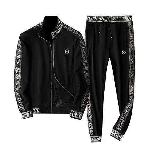 GOLOFEA Traje de chándal Suits Sweat Stand Colllar Sport Jacket, Manga Larga Zip Joting Botting Sports Trajes Deportivos 4XL