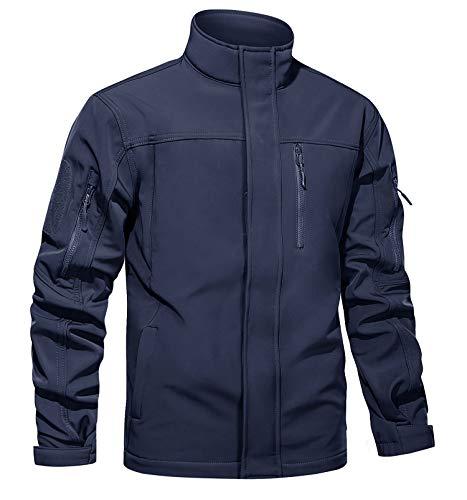TACVASEN Men's Military Tactical Jackets Windproof Fleece Liner Softshell Coats Navy, XL