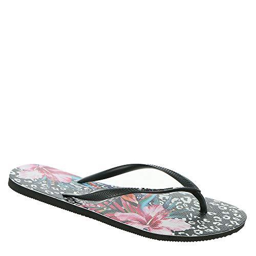Havaianas Women's Slim Animal Floral Flip Flop Sandal, Black, 9-10