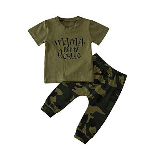 Geagodelia Juego de 2 piezas de ropa de bebé de verano de camuflaje verde militar, camiseta Alphabet de manga corta + pantalones de camuflaje verde militar 80 cm