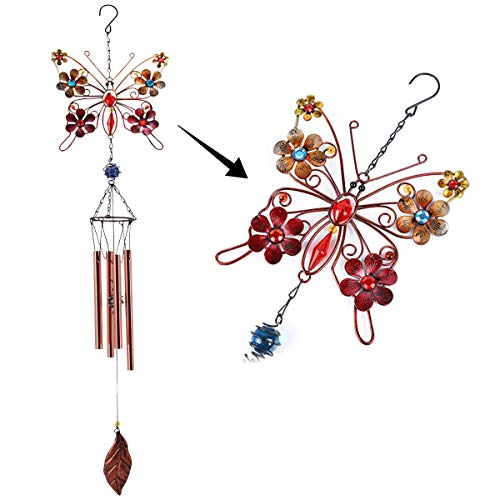 """MEMGIFT Butterfly Wind Chimes for Outdoor Indoor Memorial Windchimes Loss of Loved One Sympathy 35"""" H Beautiful Décor Garden Window Patio Yard Porch Deck Home Decoration Portable Metal Boho"""