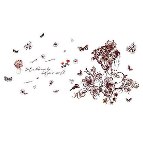 Románticas flores mariposa pegatinas de pared dibujos animados animales en forma de corazón extraíble papel pintado decoración del hogar PVC arte mural bebé niños niñas dormitorio cocina pegatinas, multicolor
