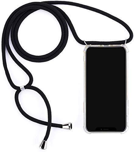 Herbests Kompatibel mit Huawei Honor View 20 Handykette Hülle mit Umhängeband Durchsichtig Necklace Hülle mit Kordel zum Umhängen Schutzhülle Silikon Handyhülle Kordel Schnur Case,Schwarz