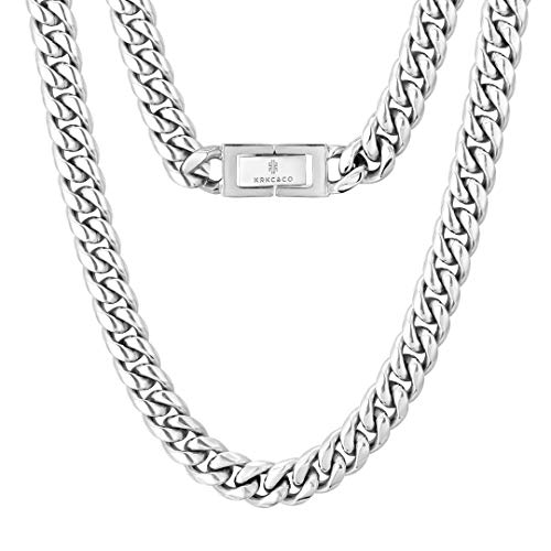 KRKC&CO 10mm Panzerkette Weißgold beschichtet Cuban Link Chains Edelstahl Panzerkette kubanische Gliederkette für Herren Silbrige Halskette Hip Hop Halskette für Männer Jungen Größe 46cm